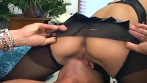 Sex in sheer crotchless nylons and a pink bra