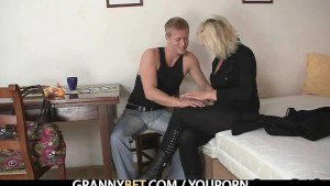 Granny blonde rides his stiff dick