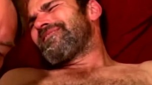 Mature redneck bear drooling on cock
