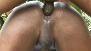 Cum On Gay's Back After Hot Beefy Anal Sex
