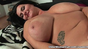 Soccer moms with natural big tits having solo sex
