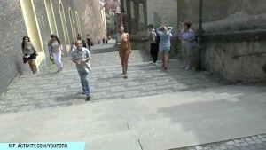 Hot czech babe natalie shows her naked body on public street