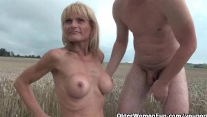 Grandma and her toy boy fuck outdoors