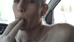 Blonde Bitch Gets A Face Full Of Cum In A Van - Pink Kitty
