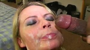 Facials and cumshots in bukkake for Alexis May