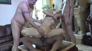 Gangbang for a blonde slut