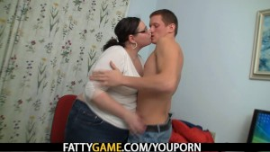Plump teacher seduces student into sex