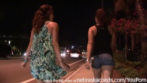 brunettes know how to dance and have fun at a beach bar while naked in public exhibitionism