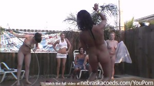 almost unbelievable home made backyard wet tshirt contest with totally naked sorority girls