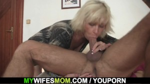 Blonde mother inlaw seduces me into sex