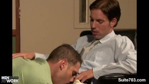 Naughty gay gets butt nailed and cummed at work