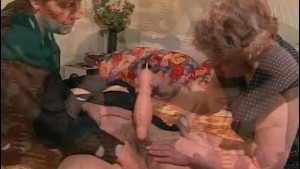 Three mature sluts sharing massive dildo