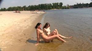Nudist beach brings the best out of three hot teens