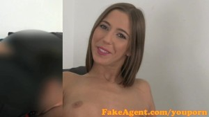 FakeAgent Cute amateur gets ass sprayed with spunk in casting
