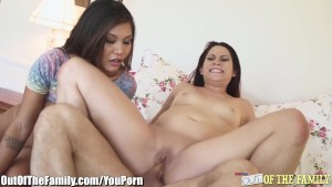 Dirty Mom and Stepdaughter Facialed by Same Cock