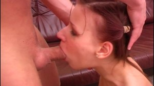 Petite Pigtailed Teen Gaggang Over Big Fat Cock