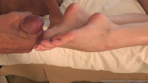 Hot Brunette Has Her Feet Blasted By a Nice Black Cock