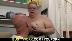 Heavy lady boss rides his cock