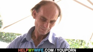 Old husband watching young wife riding stranger's cock