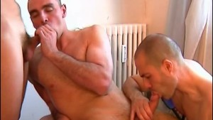 The client gets sucked his cock by 2 repair guys !