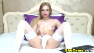 """Pretty Blonde Shemale Webcam Masturbation """