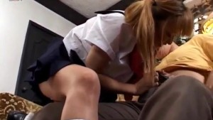 Yui Natsume in uniform sucks and strokes penis till gets cum
