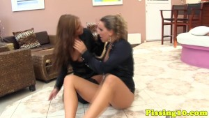 Piss drenched glamour lesbos play with goldenshowers