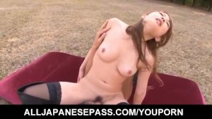 Yuu Konishi busty rides man mouth and shlong outdoor till cums