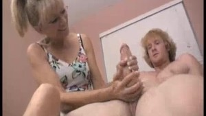 Grandma's Always Been Sneaking On Young Guy's Masturbation