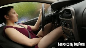 Busty Jenny Masturbating In The Car
