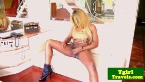 Ebony ts Suzanna Holmes wanks her huge cock
