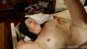 Horny old spunker enjoys a hot fucking and a sticky facial cumshot