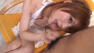 Rika Sakurai licks and sucks boner so fine till gets cum in mouth