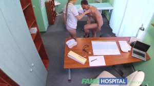 FakeHospital Sexy male patient cums in dirty nurses mouth on doctors desk