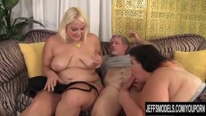 BBW Juicy jasmine & Jade Rose seduce a guy with their plumpness