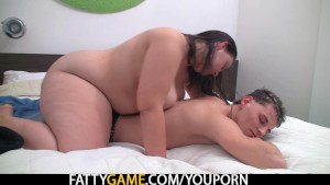 Fat ass plumper seduces young lad