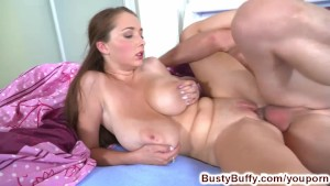 Busty Buffy pumps her roommates cock