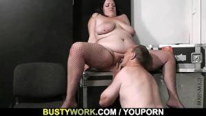 Busty plumper rides stranger's cock