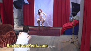 Backstage of erotic photoshoot with sexy 18yo redhead