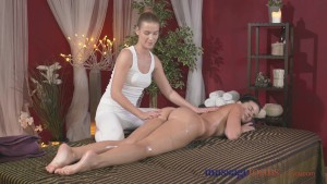 Massage Rooms Stunning blonde lesbian has big orgasm from brunette hottie