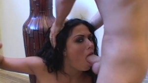 Brunette babe chokes herself on cock