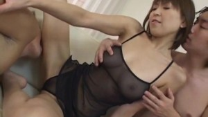 Jun Kusanagi Asian milf gets horny pussy masturbated in gangbang style