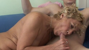 Blonde granny gets cum on her tits