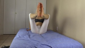 Teaching you yoga in my see-through leggings and bare feet