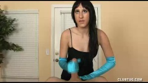 Brunette s Specialty Handjob Offer In Her Satin Gloves