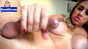 Solo latina tranny jerking and fingering ass