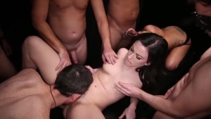 Gangbang Creampe blonde eats creampies from another pussy