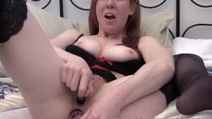 Redhead hottie Kierra Wilde is playing with two toys