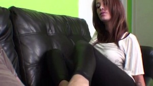 Seducing him with a footjob to pass inspection