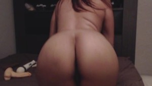 Big ass latina pleasuring her hairy pussy with toys